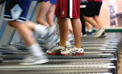 Exercise on treadmills at the gym
