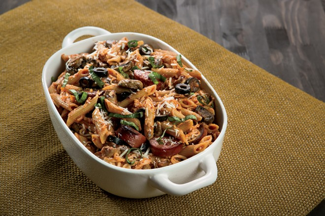Mushroom and Black Olive Pasta Bake