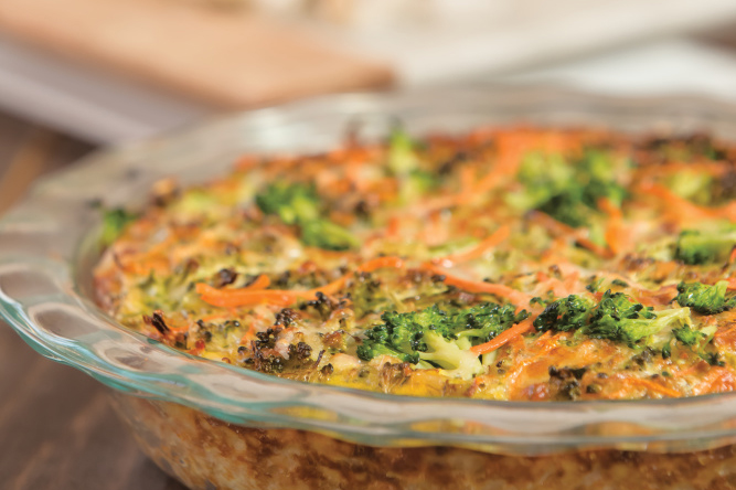 Cauliflower Parmesan Crusted Quiche