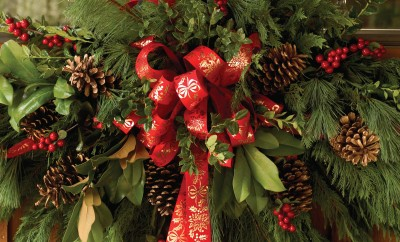 Christmas wreath with real evergreen