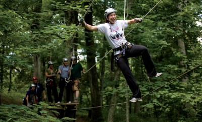 "Jess Linger on ""Burma Bridge,"" Dagaz Acres Zipline Adventures in Rising Sun, IN"
