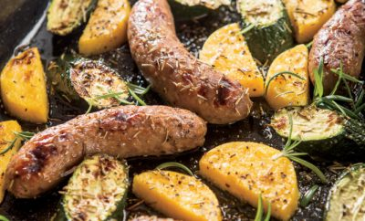 Sheet Pan Sausage, Zucchini and Polenta