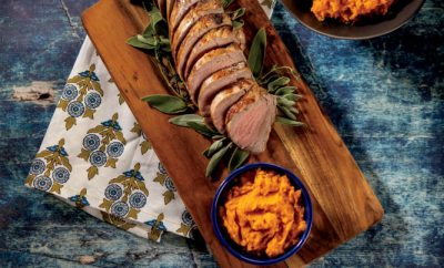 Cider-Roasted Pork Tenderloin with Roasted Mashed Sweet Potatoes