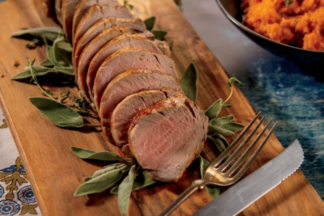Cider Roasted Pork Tenderloin with Roasted Mashed Sweet Potatoes